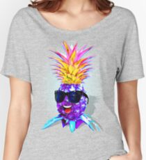 Pineapple Ultraviolet Happy Dude with Sunglasses   Women's Relaxed Fit T-Shirt