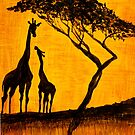 Giraffes at Sunset by Mark Young