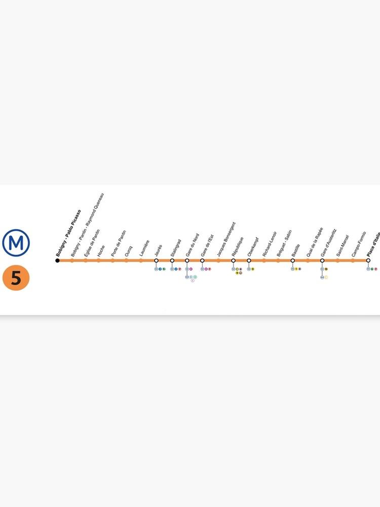 French Subway Map Print.Paris Subway Map France Line 5 Bobigny Pablo Picasso Place D Italie Canvas Print