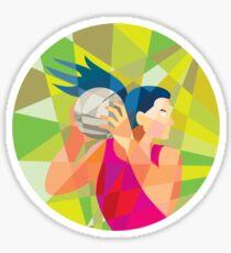 Netball Player Ball Rebound Low Polygon Sticker