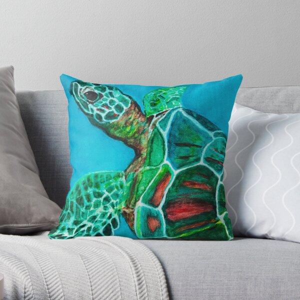 Sea Turtle Ascending Throw Pillow