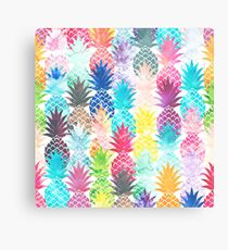 Hawaiian Pineapple Pattern Tropical Watercolor Canvas Print