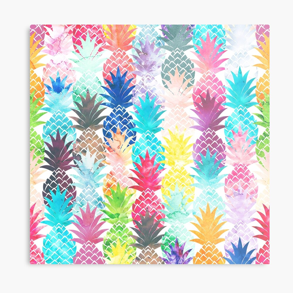 Hawaiisches Ananas-Muster-tropisches Aquarell Metallbild
