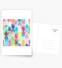 Hawaiian Pineapple Pattern Tropical Watercolor Postcards