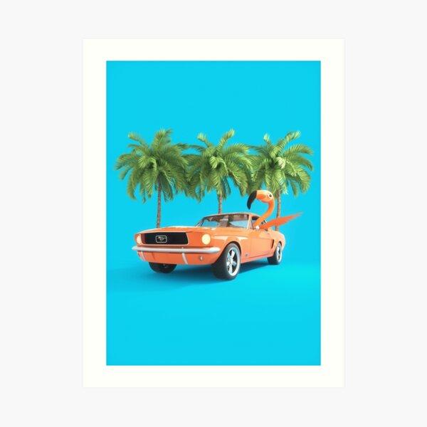 Flamo the Flamingo driving a Mustang Art Print