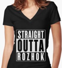 Straight Outta Rozhok Women's Fitted V-Neck T-Shirt