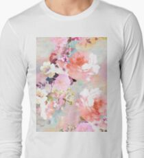 Romantic Pink Teal Watercolor Chic Floral Pattern T-Shirt
