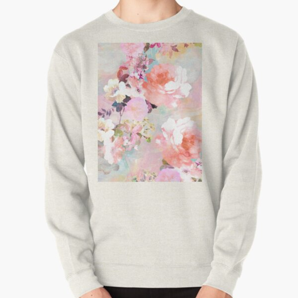 Romantic Pink Teal Watercolor Chic Floral Pattern Pullover Sweatshirt