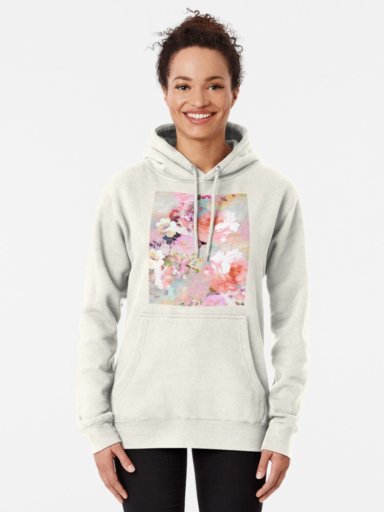 Alternate view of Romantic Pink Teal Watercolor Chic Floral Pattern Pullover Hoodie