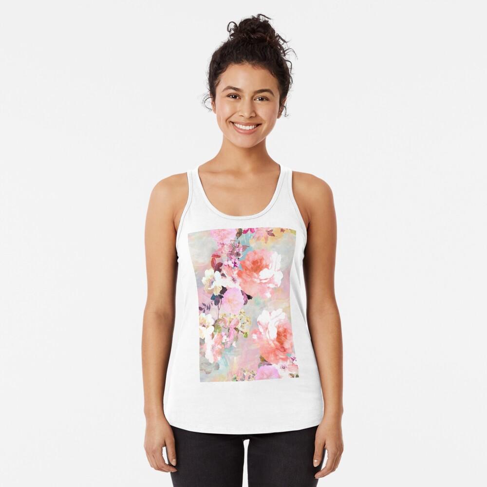 Romantisches rosa aquamarines Aquarell-schickes Blumenmuster Racerback Tank Top