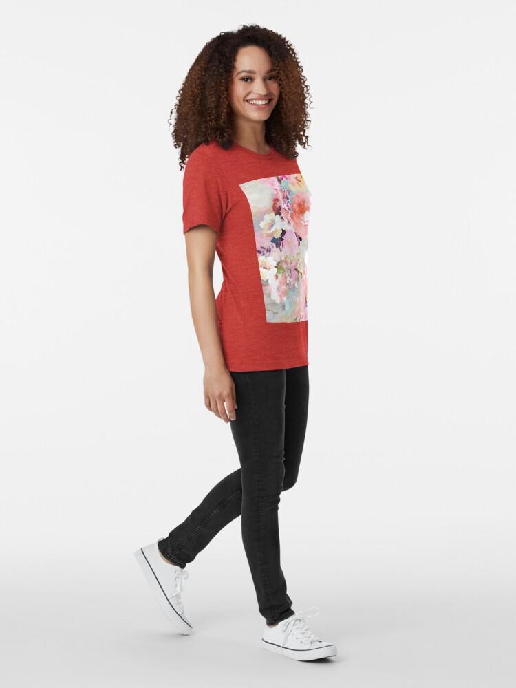 Alternative Ansicht von Romantisches rosa aquamarines Aquarell-schickes Blumenmuster Vintage T-Shirt
