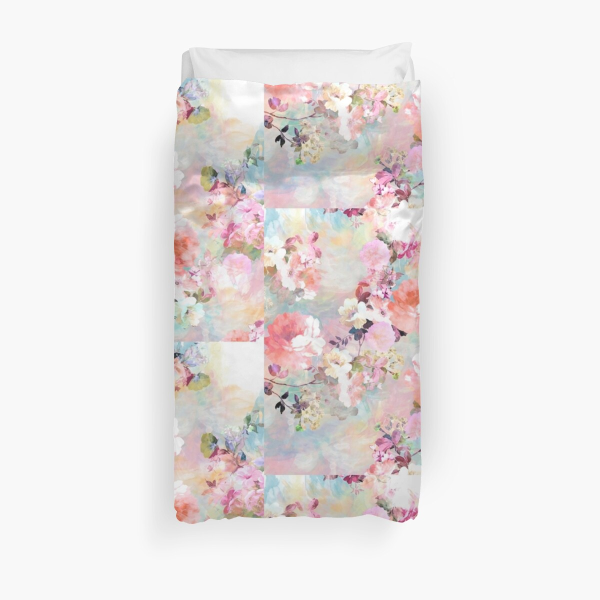 "Pink Turquoise Girly Chic Floral Paisley Pattern Rug By: ""Romantic Pink Teal Watercolor Chic Floral Pattern"" Duvet"