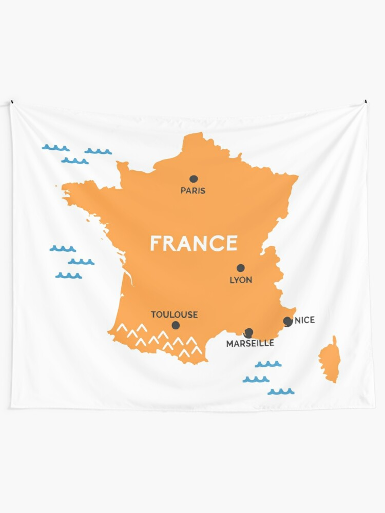 Map Of France Toulouse.France Map Lyon Nice Marseille Paris Toulouse Wall Tapestry