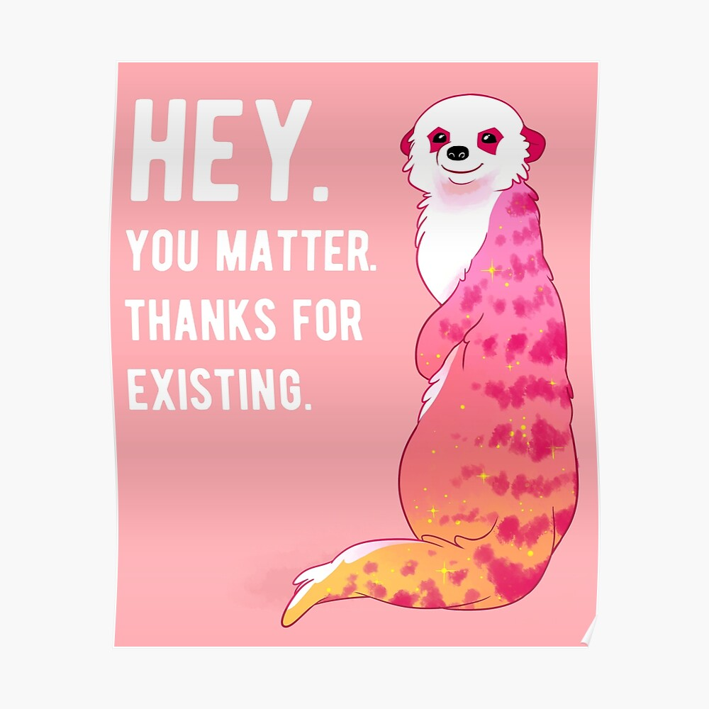 """""""HEY. You Matter. Thanks for Existing."""" Sunset Meerkat Poster"""