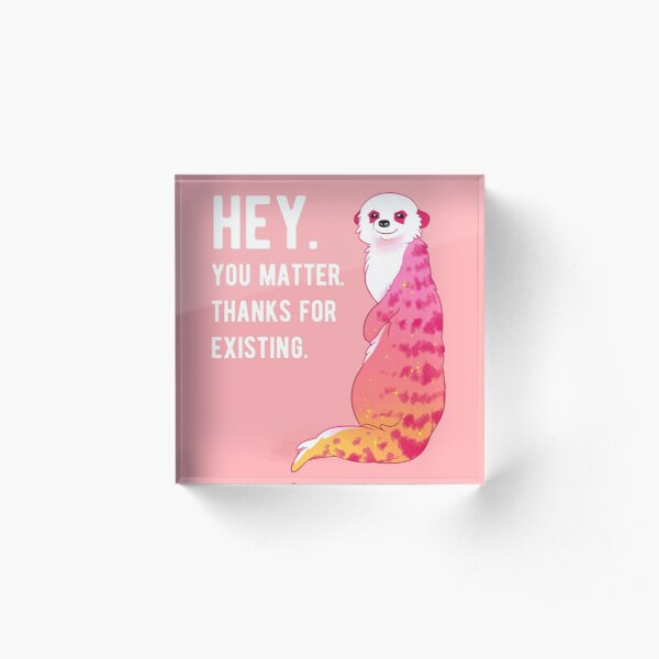 """HEY. You Matter. Thanks for Existing."" Sunset Meerkat Acrylic Block"