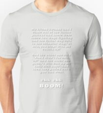 Clare Werbeloffs witness account of the Kings Cross Shooting (white text) Unisex T-Shirt