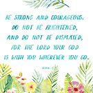 Sei stark und mutig Tropisch | Bibel Vers von PraiseQuotes
