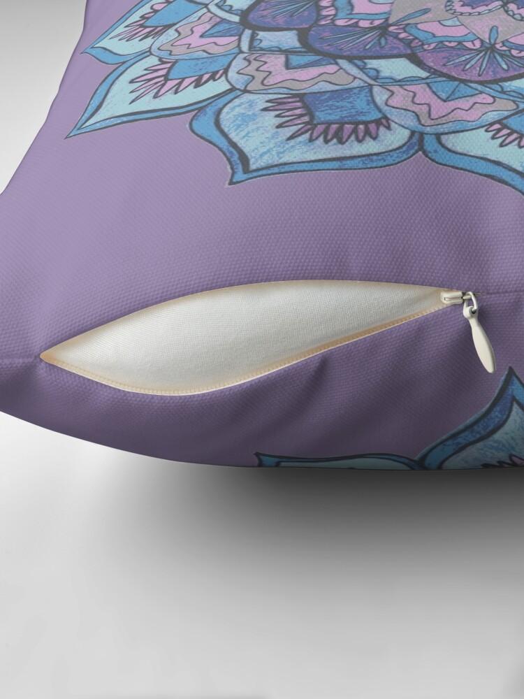 Alternate view of Purple and Blue Mandala  Throw Pillow