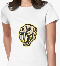 Saber-toothed Cat Skull Mascot Women's Fitted T-Shirt