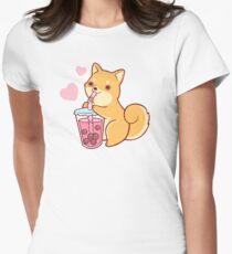 Bubble Tea Shiba Women's Fitted T-Shirt
