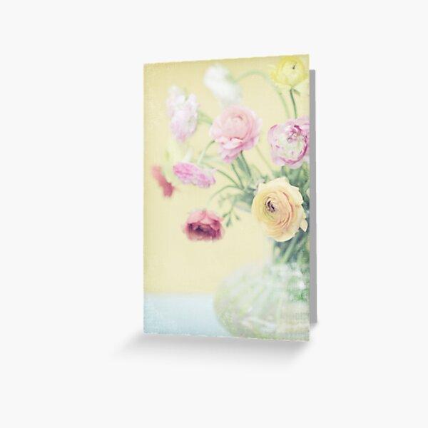 Ranunculas on Yellow Greeting Card
