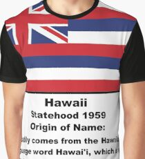 Hawaii Name Origin Words Below Flag Graphic T-Shirt