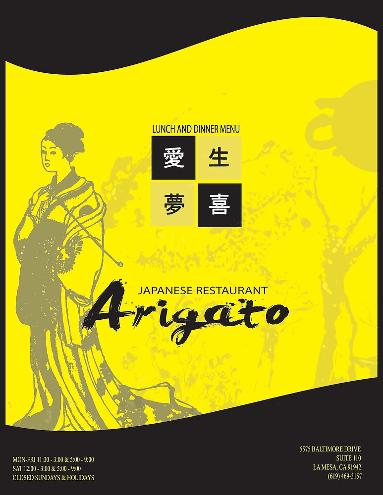 Arigato Restaurant Menu by Danny Naran