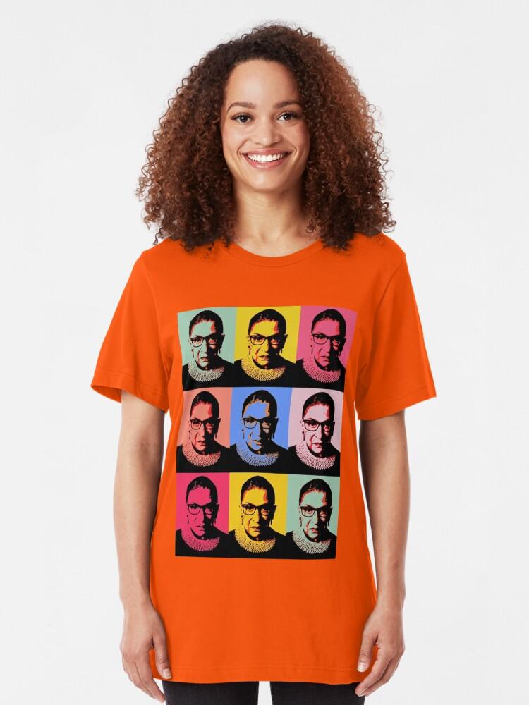 Alternate view of RBG - Pink Wave - Dissent is Patriotic Slim Fit T-Shirt
