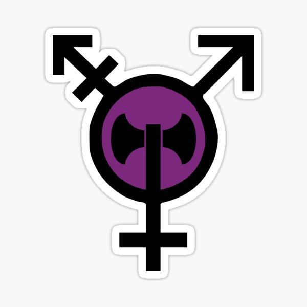 Two Colour Transbian Transgender Lesbian Labrys Sticker