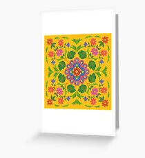 Floral Rangoli Pattern on Yellow Greeting Card