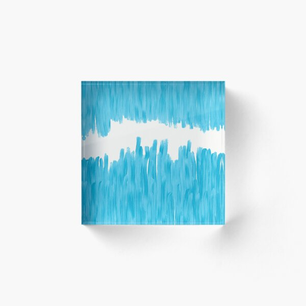 Sea of Blue Painted Acrylic Block