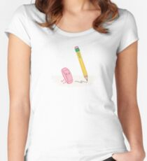 Pencil and Eraser - Illustrated by Adrianna Bamber Women's Fitted Scoop T-Shirt