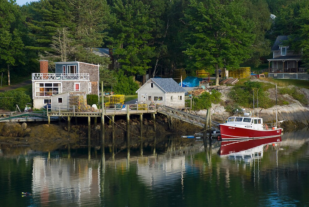 Reflections of a Lobster Boat, Dock and Traps by MarkEmmerson