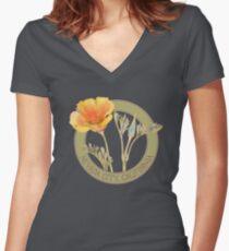 Nevada City Poppy Women's Fitted V-Neck T-Shirt