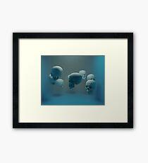 Dancing Blue Skulls Framed Print