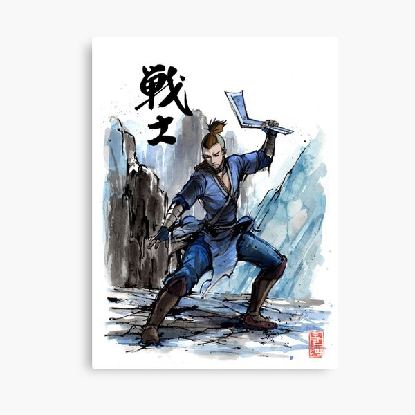 Sokka from Avatar Sumi and watercolor with Calligraphy Canvas Print