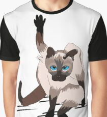 Funny Grumpy Siamese Cartoon Preening Itself Gift for Cat Lovers, Funny Illustration  Graphic T-Shirt