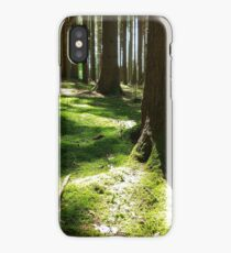 Sunrise in the forest - sunbeams trees iPhone Case