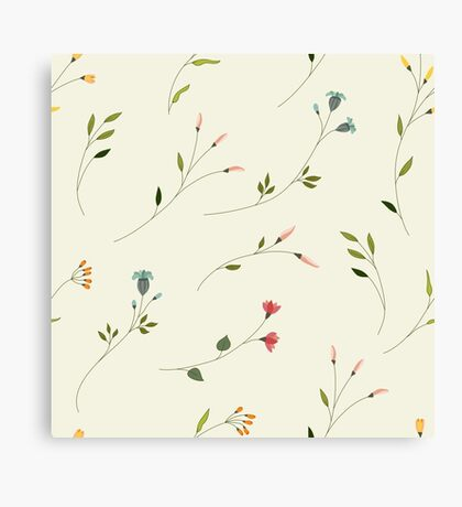 Delicate Flower Pattern on Off- white Canvas Print