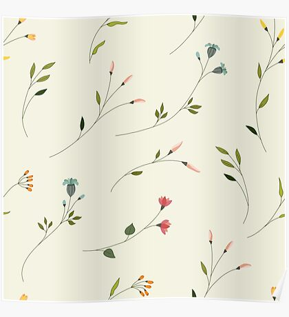 Delicate Flower Pattern on Off- white Poster