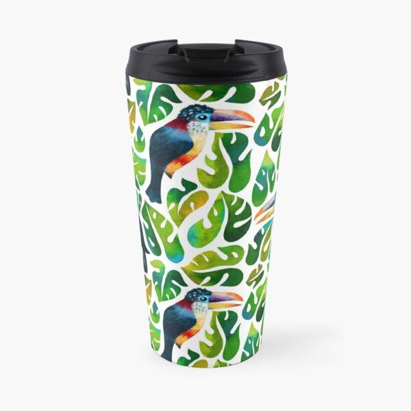Aracari toucans with monstera leaves Travel Mug