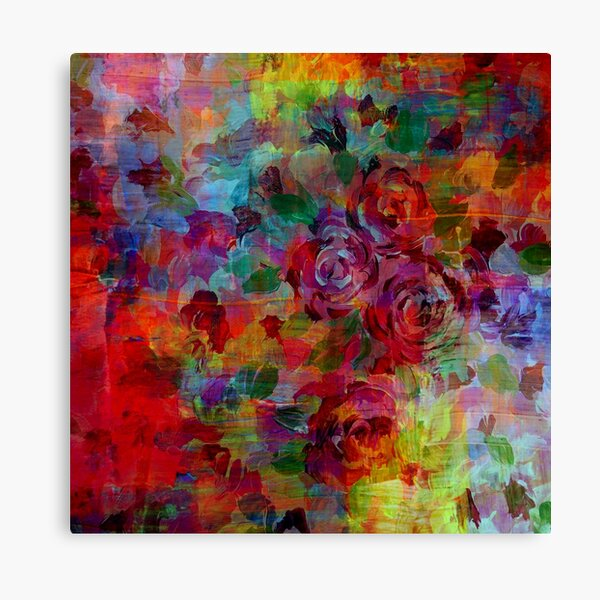 THROUGH ROSE-COLORED GLASSES Bold Rainbow Floral Multicolor Flower Garden Abstract Modern Painting Design Canvas Print