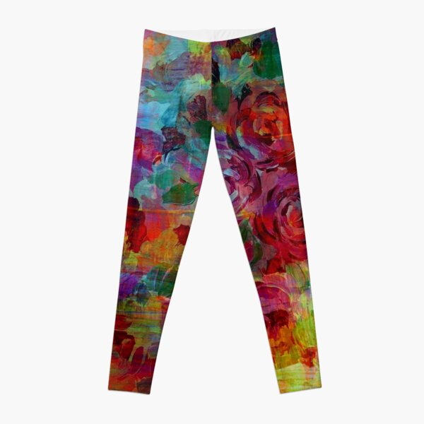 THROUGH ROSE-COLORED GLASSES Bold Rainbow Floral Multicolor Flower Garden Abstract Modern Painting Design Leggings