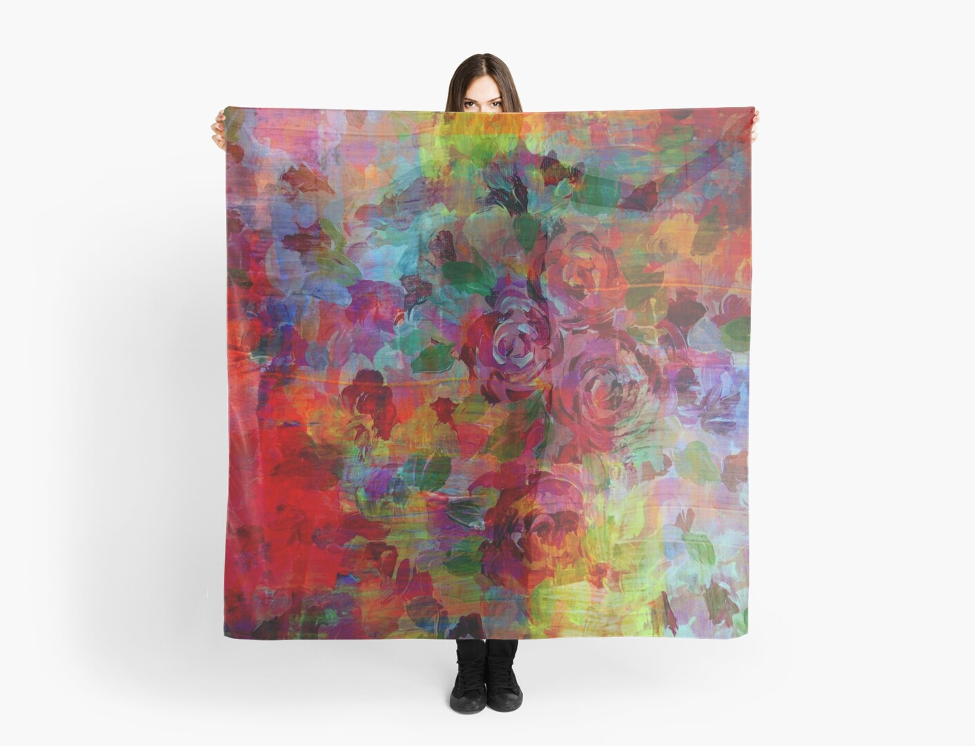 THROUGH ROSE-COLORED GLASSES Bold Rainbow Floral Multicolor Flower Garden Abstract Modern Painting Design by EbiEmporium