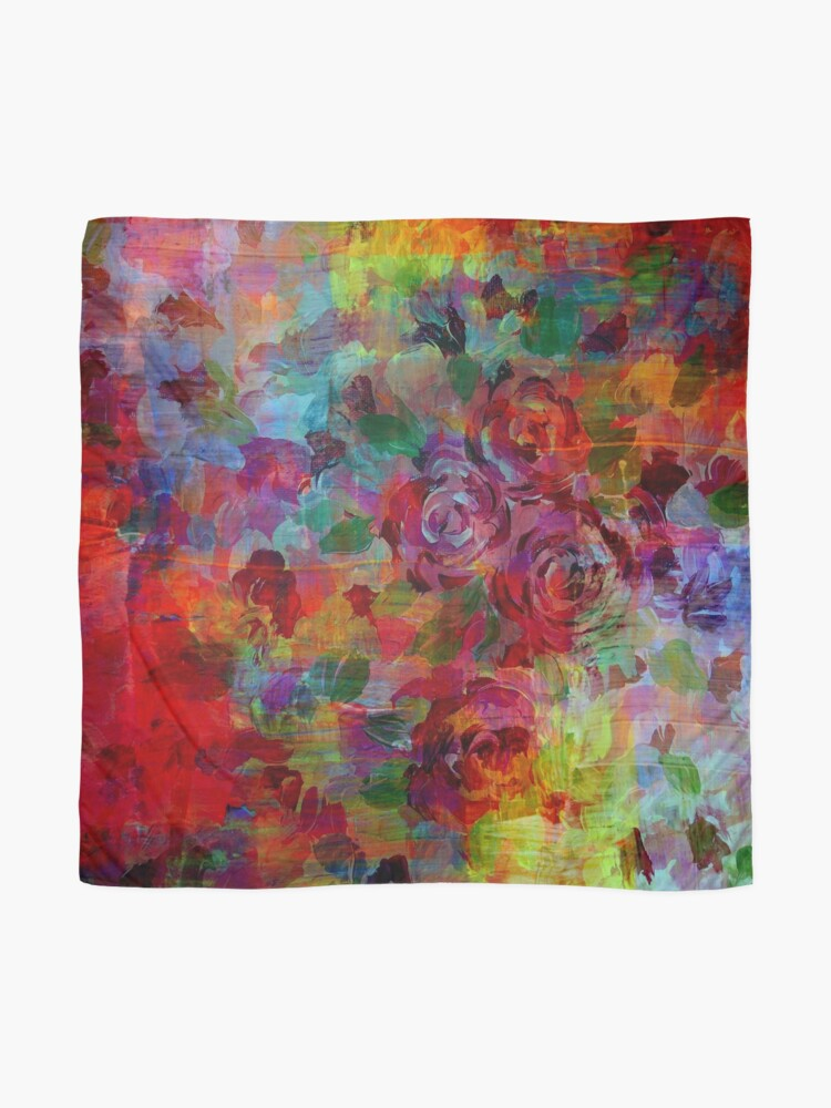 Alternate view of THROUGH ROSE-COLORED GLASSES Bold Rainbow Floral Multicolor Flower Garden Abstract Modern Painting Design Scarf