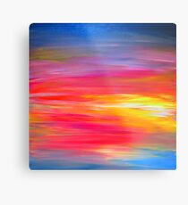 BRIGHT HORIZONS Colorful Rainbow Bold Multicolor Ombre Red Pink Yellow Blue Sunrise Sunset Abstract Painting Metal Print