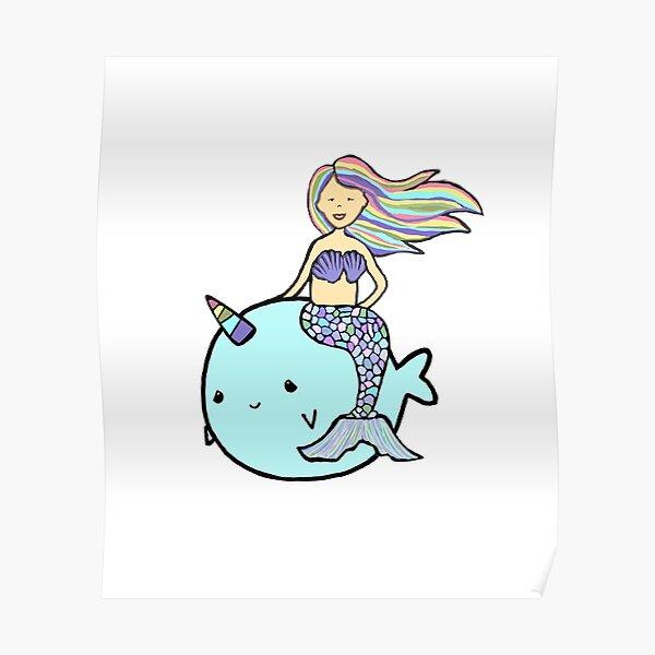 Mermaid with Rainbow Hair Riding Pet Narwal Poster