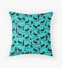 Mini Donkey, Big World (Turquoise) Throw Pillow