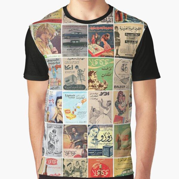 Affiche arabe de mosaïque d'annonces vintage T-shirt graphique