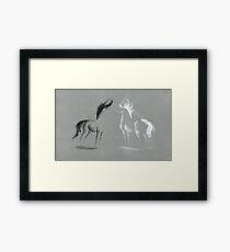 Blinding Darkness: Dark and Light Minimal Abstract Gel Pen Horses Framed Print